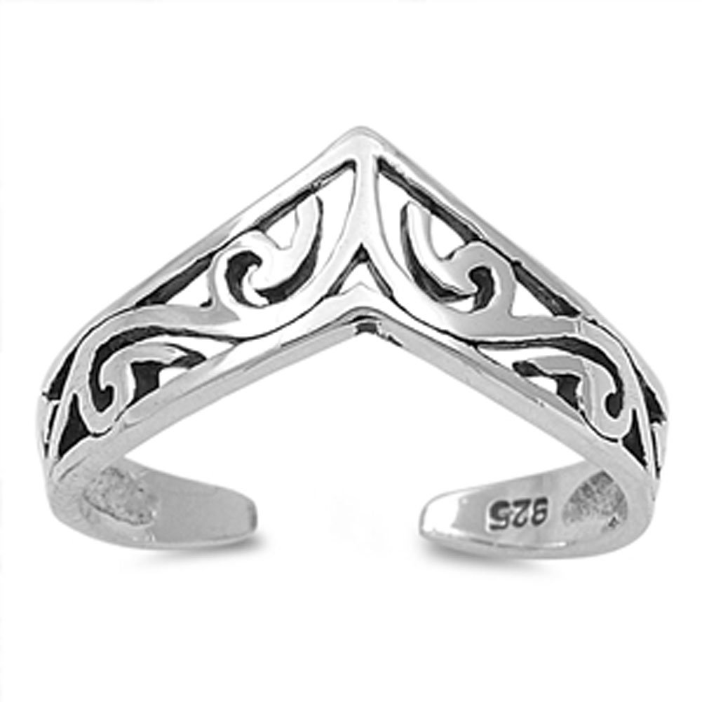 Chevron Filigree .925 Sterling Silver Toe Ring Sac Silver US-B01DLAHCRO