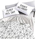 VM VOUGEMARKET Geometric Duvet Cover Set Queen,3 Pieces 100% Cotton Luxury Plaid Grid Bedding Set for Teens Adults with Zipper Closure-Full/Queen,Lafu