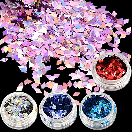 POYING 1g Rhombus Glitter Effect Nail Art Sparkly Paillette New Fashion Designs for Nail Art Decorations Powder Slice LS01-16 by POYING