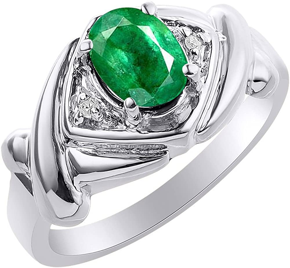 Color Stone Birthstone Ring XO Hugs /& Kisses Diamond /& Emerald Ring Set In Sterling Silver