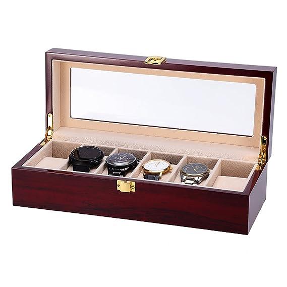 Caja para Relojes de Madera Estuche para Relojes y joyeros con 6 Compartimentos: Amazon.es: Relojes