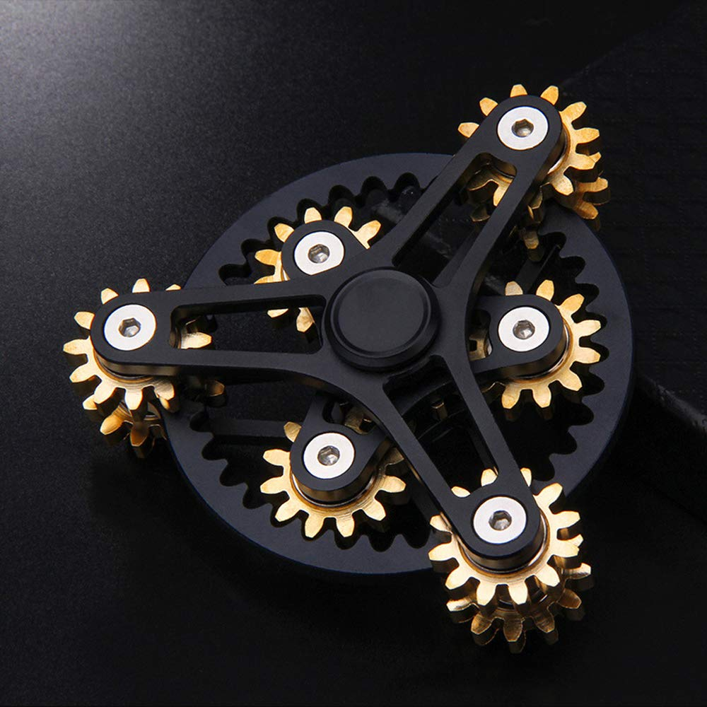 FREELOVE 9 Series Gear Pure Copper Brass Fidget Spinner Toy EDC Industrial Mechinery Disassemble R188 Silent Stainless Steel Bearing,3~5 minutes (7 Gear Wind Fire Wheel Black, 7 Gear Wind Fire Wheel) by FREELOVE (Image #2)