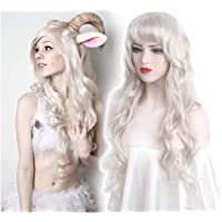 STfantasy Cosplay Wigs Silver Long Big Wave with Natural Bangs Density Synthetic Hair Weave Full Wigs For Women