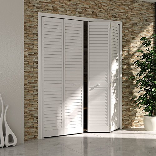 Bi-fold Closet Door, Louver Louver Plantation White (24x80) (For Doors Patio Shutters Wooden)