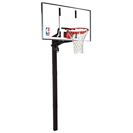 Spalding NBA In Ground Basketball System   60u0026quot; Aluminum Trim Glass  Backboard