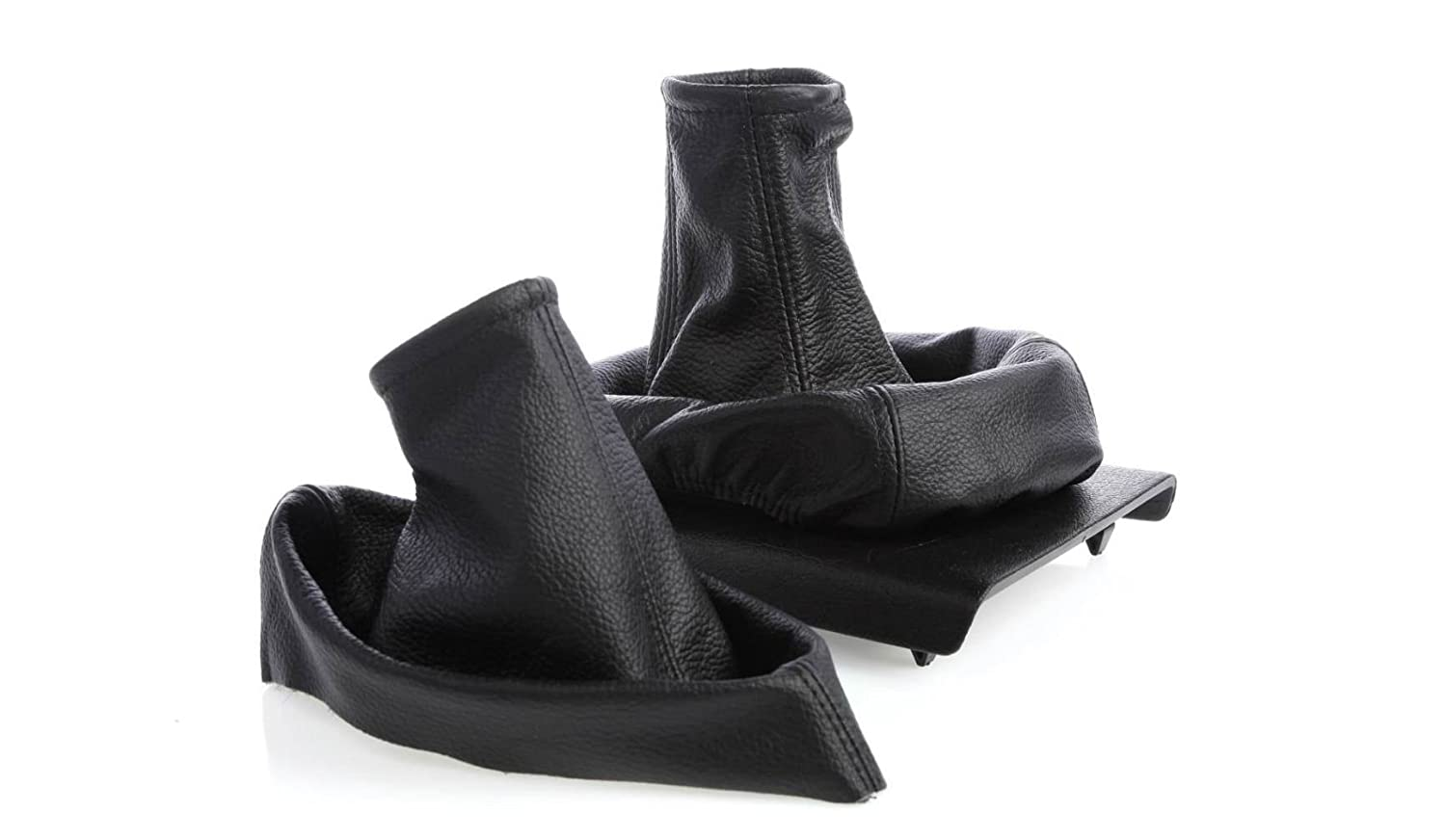 myshopx Gear Stick Cover and Handbrake Cover - Collar, Gaiter - Real Leather, Black - SH45