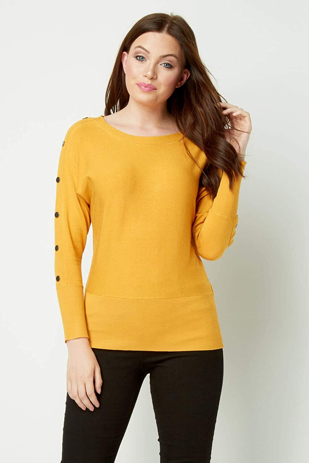 Roman Originals Women Stud Detail Jumper Tops Ladies Casual Ribbed Long Sleeve Pullover Sweater Knitwear Outerwear Top Jumpers
