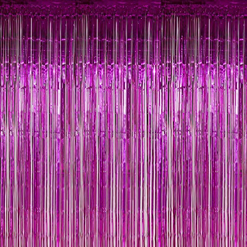 Twinkle Star Photo Booth Backdrop Foil Curtain Tinsel Backdrop Environmental Background for Birthday Party, Wedding, Graduation, Christmas Decorations (2 Pack, Purple) (Curtains Orange Purple And)