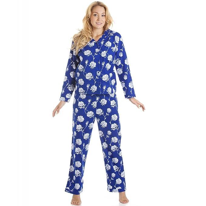 Conjunto de pijama largo - Estampado floral - Franela - Azul marino y blanco 42/