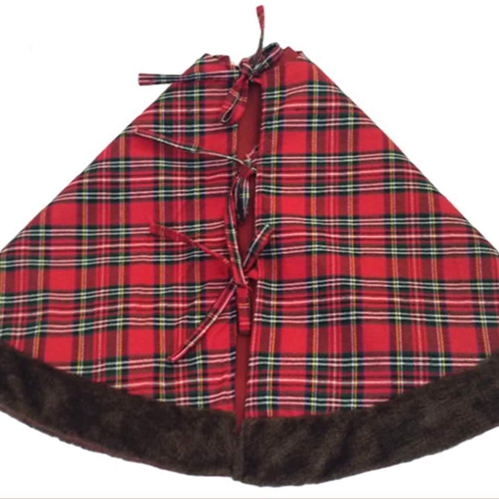 hot sale online 75855 7aa6a Couvre-Pied de Sapin Noël 107cm Cache Pied de Sapin Noël Carreaux  Chaussettes de Noel