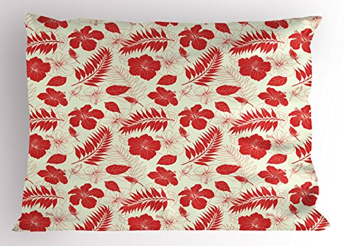 Ambesonne Hawaii Pillow Sham, Pacific Ocean Foliage Flowering Hibiscuses and Buds Monochrome Wildlife Illustration, Decorative Standard Queen Size Printed Pillowcase, 30 X 20 Inches, Ivory Red by Ambesonne
