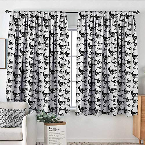 Skull Window Curtain Fabric Skulls Pattern Monochrome Detailed Sketch Human Skeleton Head Fear Halloween Theme Decorative Curtains for Living Room 72