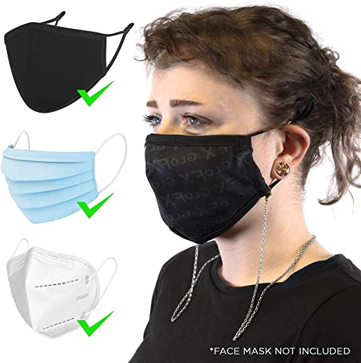 Hassle-Free Face Cover Accessory GloFX Face Mask Lanyard Lobster Clasp w//Cloth Loops Box Chain Metallic Durable Universal Style