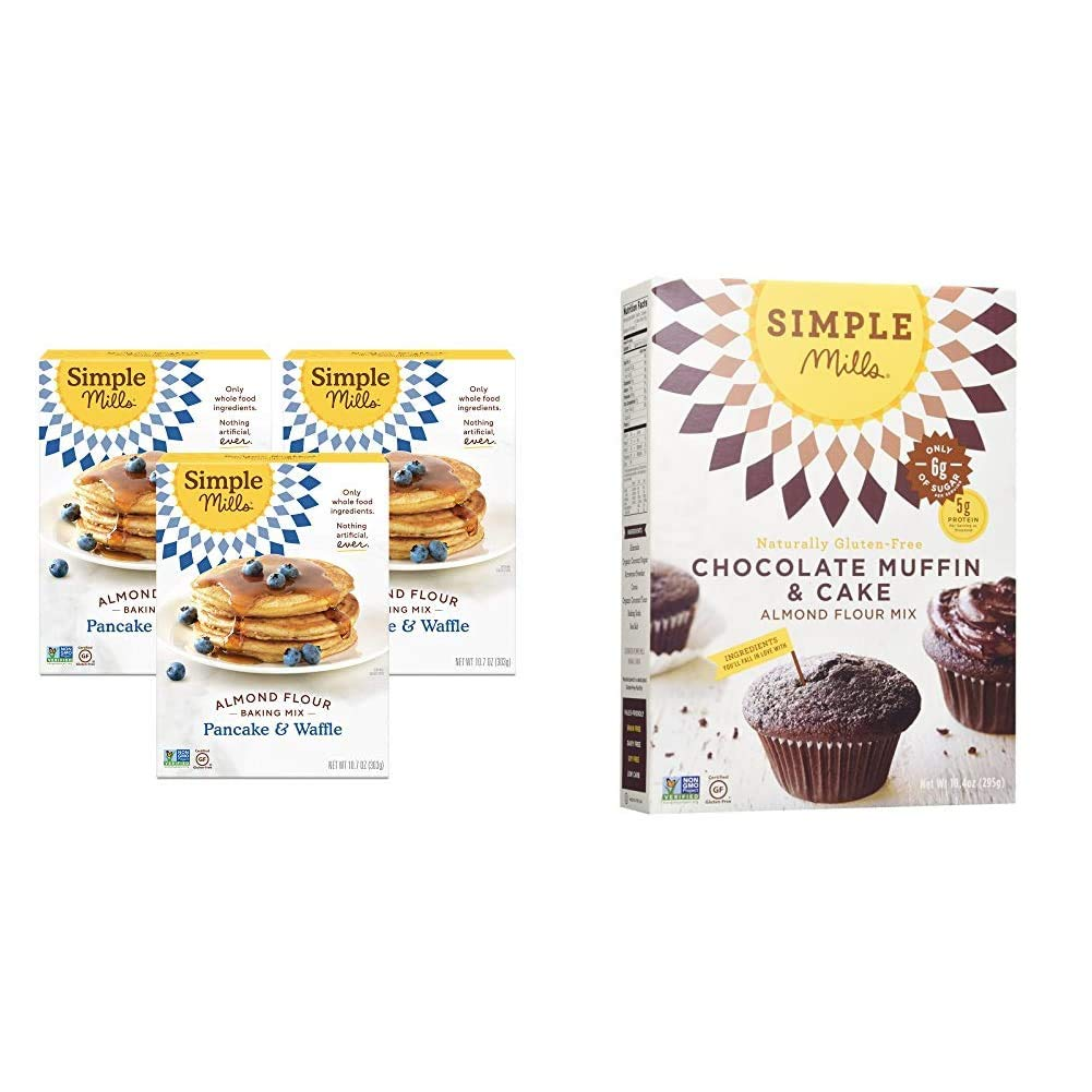 Simple Mills Almond Flour Pancake Mix & Waffle Mix, Gluten Free, Made with whole foods, 3 Count & Almond Flour Baking Mix, Gluten Free Chocolate Cake Mix, Muffin pan ready, Made with whole foods