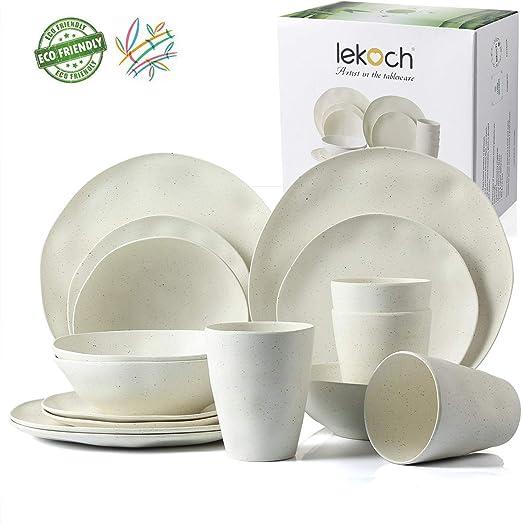 Amazon.com: Lekoch - Vajilla de bambú ecológica para 4 ...
