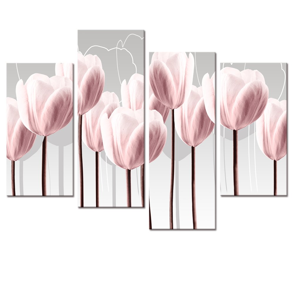 Amazon visual art floral canvas wall art canvas print pink amazon visual art floral canvas wall art canvas print pink tulips for wall decor framed and stretched 4 panels elegant flowers canvas prints 01 pink mightylinksfo