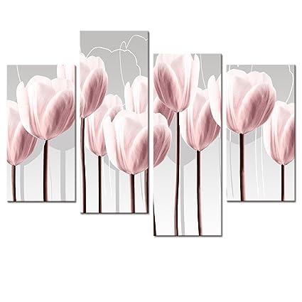 Amazon.com: Visual Art Floral Canvas Wall Art, Canvas Print Pink ...