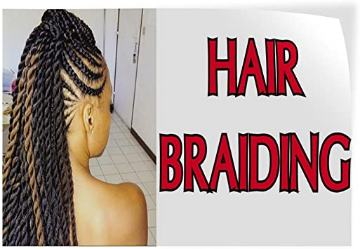 Decal Sticker Multiple Sizes Hair Braiding #1 Business Hair Braiding Outdoor Store Sign White 14inx10in Set of 10
