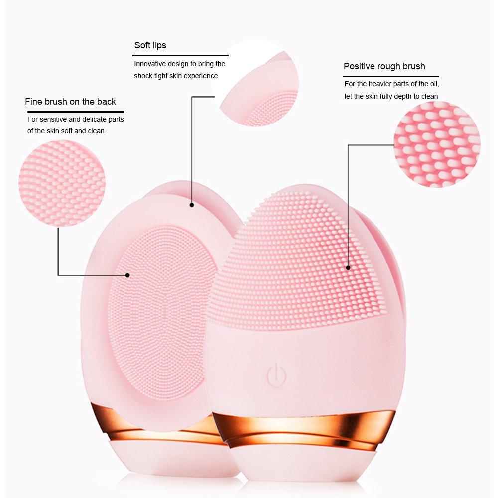 Silicona Cepillo de limpieza, regrov Sonic Facial limpiador y masajeador cepillo de silicona Vibrador impermeable Sistema de limpieza: Amazon.es: Belleza