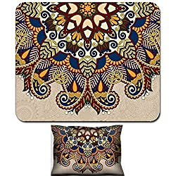 Luxlady Mouse Wrist Rest and Small Mousepad Set, 2pc Wrist Support design IMAGE: 36129012 floral round pattern in ukrainian oriental ethnic style for your greeting card or invitation template design f