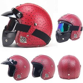 XBECO Cara Abierta Motocicleta Moto Casco Jet Casco Carretera Legal PU imitación cocodrilo Cuero y Gafas máscara y Visera de Sol (57-62CM): Amazon.es: ...