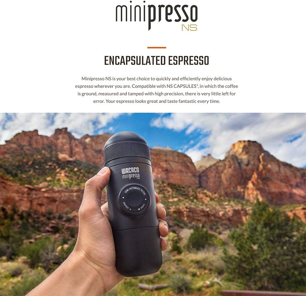 Wacaco Minipresso NS, Portable Espresso Machine, Compatible Nespresso Original Capsules and Compatibles, Travel Coffee Maker, Manually Operated from ...