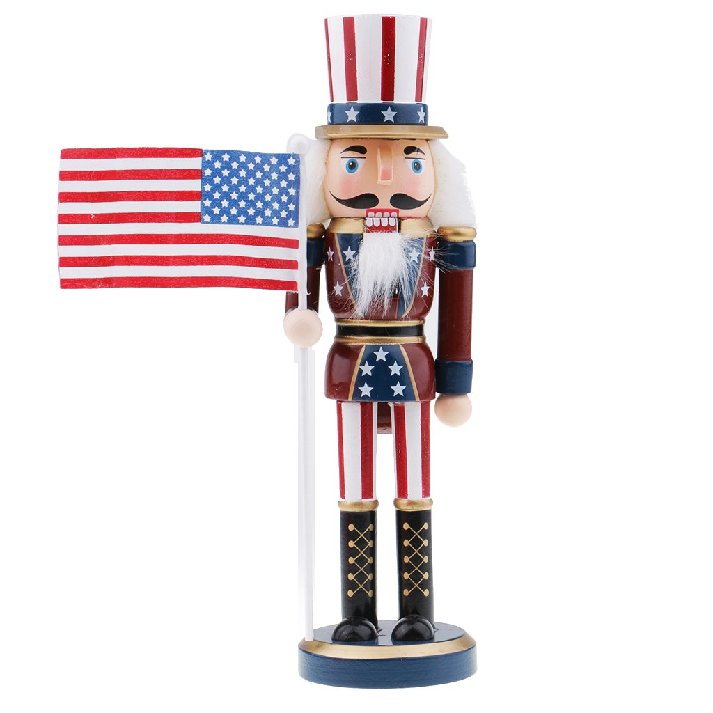 Flameer Wooden Nutcracker Soldier Figures Model Collectibles Puppet Dolls Home Decoration Kids Gift - #3