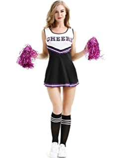 Smiffys Womens Cheerleader Costume with Dress and Pom Poms