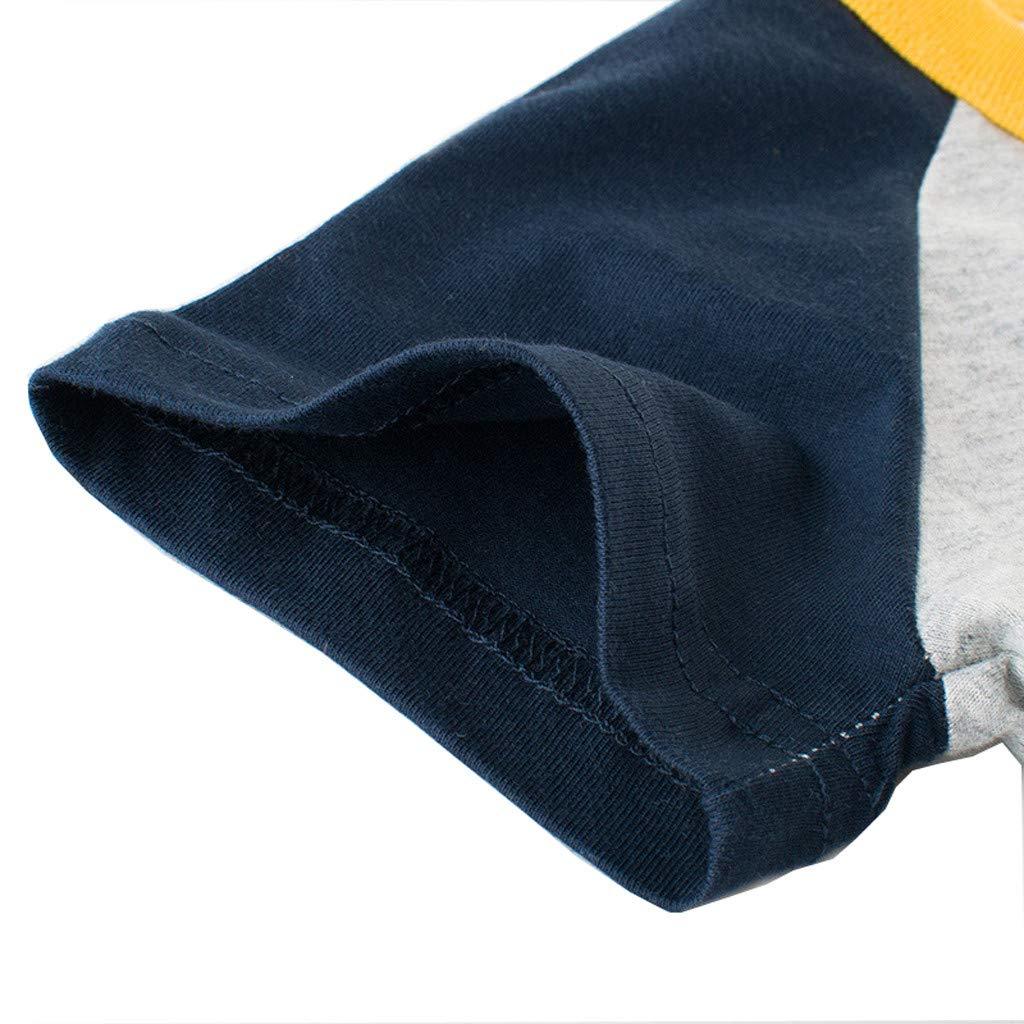 Jchen TM Boys Cute Cartoon Letter Tops Summer Kids Baby Girls Boys Short Sleeve Patchwork Pullover Tee T-Shirt for 1-6 T