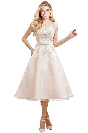 b9392ddc5d98 Xkyu womens lace cap sleeves wedding dress evening gown tea length  appliques bridal gown ivory jpg
