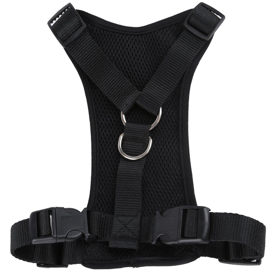 Haustier Auto Sicherheit Brustgurt - SODIAL(R)Haustier Hund Auto Sicherheits Brustgurt + Haustier Hund Autositzgurt - Sichern Ihr Haustier waehrend der Fahrt (Schwarz M)