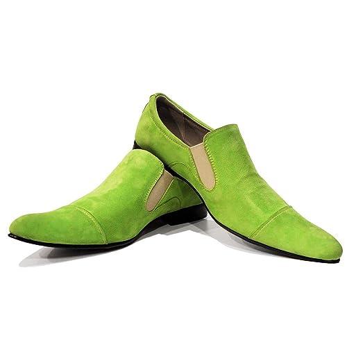 Modello Grento - 40 - Cuero Italiano Hecho A Mano Hombre Piel Verde Mocasines y Slip-Ons Loafers - Cuero Ante - Ponerse: Amazon.es: Zapatos y complementos