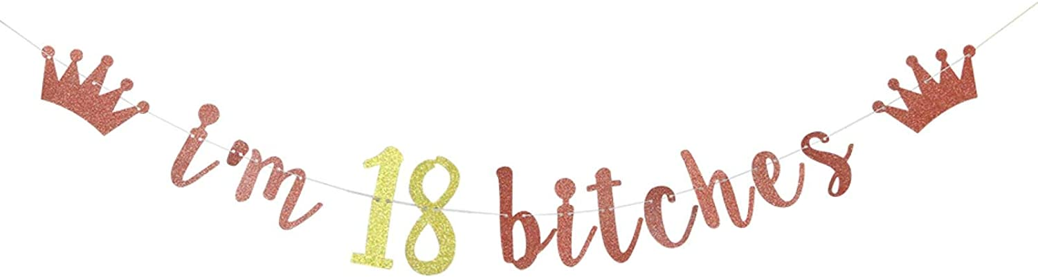 I'm 18 Bitches Banner, 18th Birthday Party Decor, Funny Eighteen Years Old Birthday Banner, Girl's 18th Birthday Party Decorations (Rose Gold)