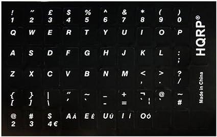 HQRP – Inglés pegatinas teclado con letras blancas sobre fondo negro para teclado negro traje para todos los PC y portátiles