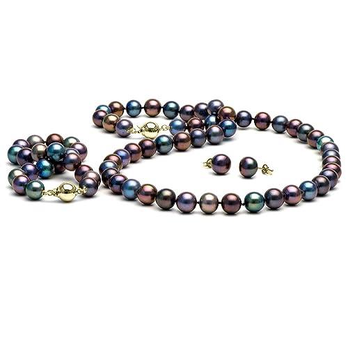 c0b90ab78298 Conjunto de joyas (negro agua dulce perla cultivada