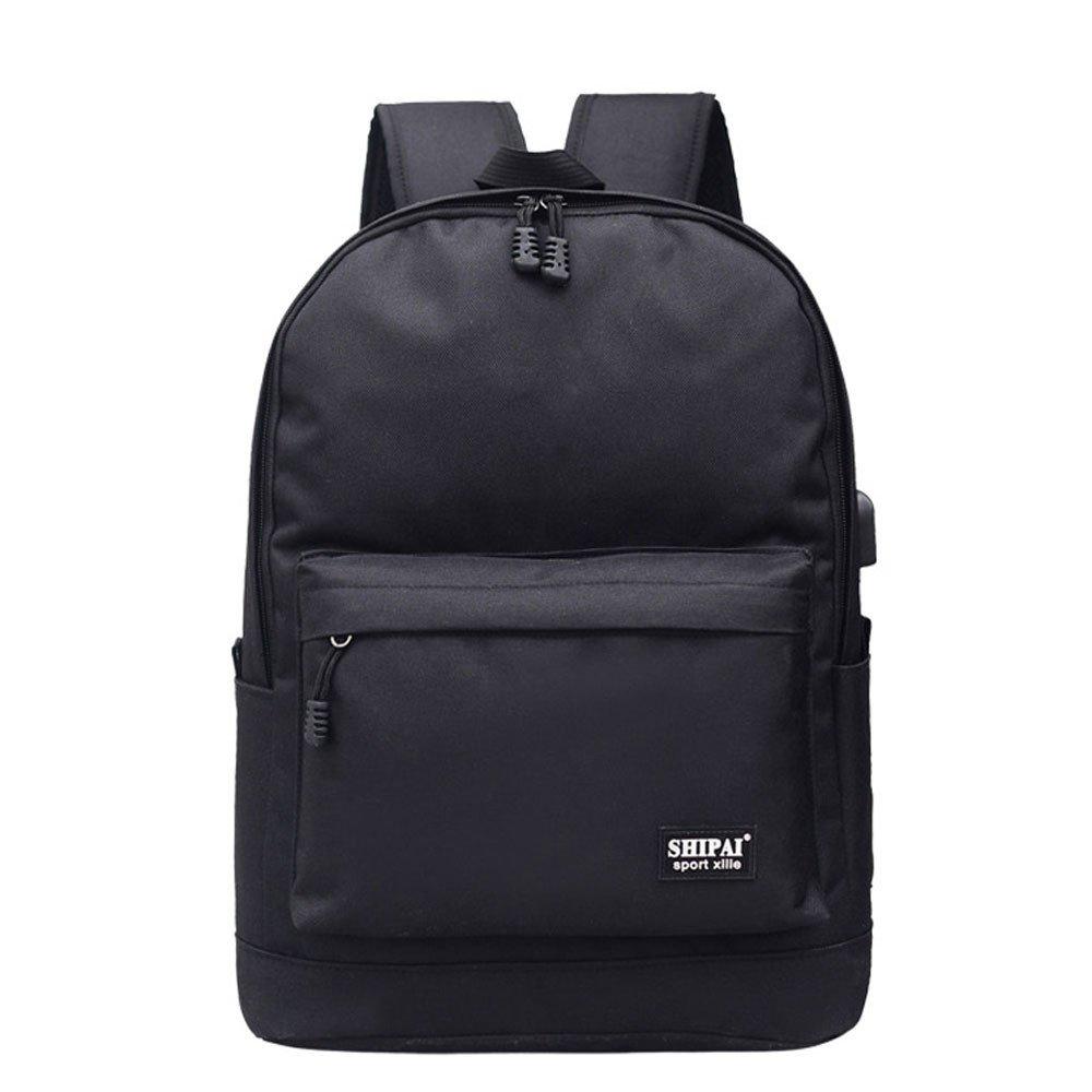 Vibola Girl Boy Zipper Backpack School Bags Fashion Women Bag (Black)