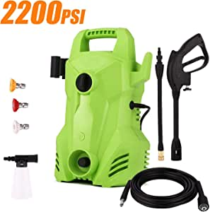 Homdox Electric Power Pressure Washer 2200 PSI, 1.5 GPM Portable Washer Cleaner Machine with External Detergent Dispenser,3 Nozzles(Green)