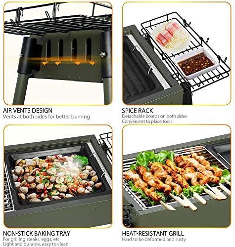 TeRIydF Portable Barbecue Grill Surface antiadhésive Pliant Barbecue Charbon de Bois Barbecue Grill Mini Rond en Plein air Camping Pique-Nique Barbecue Outil