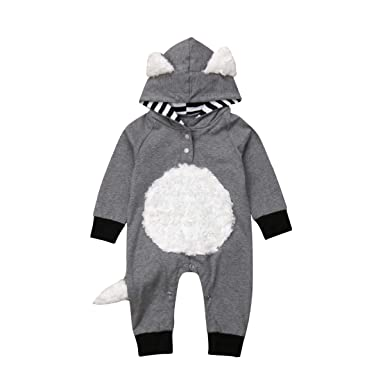 f9c15b9cb Baby Girls Boys Homewear Pajamas Cute Fox Design Fleece Applique Chest&Tail  Long Sleeve Jumpsuit Winter Fall