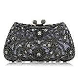 Milisente Women Evening Bags Lady Flower Crystal Party Clutches Wedding Purses (Black)