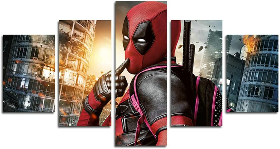 AtfArt 5 Piece Deadpool movie poster decoration (No Frame) Unframed HB25 50 inch x30 inch
