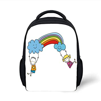 3c7216a27030 Amazon.com: iPrint Kids School Backpack Rainbow,Cartoon Style Two ...