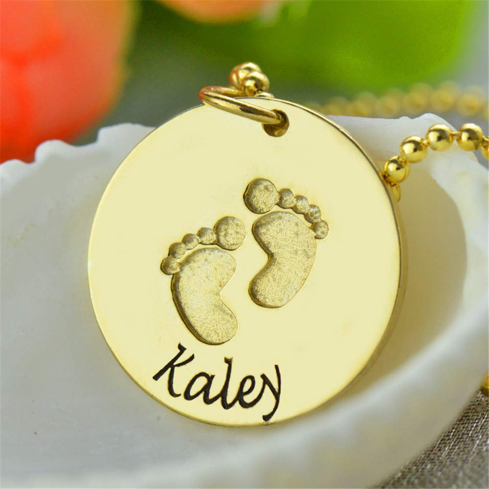 Engraved with Solid Baby Feet Gifts for Her Choice of Sterling Silver Chain New Mom Customize with Childs Name Jumping Birthstone Baby Footprint Personalized Sterling Silver Name Necklace