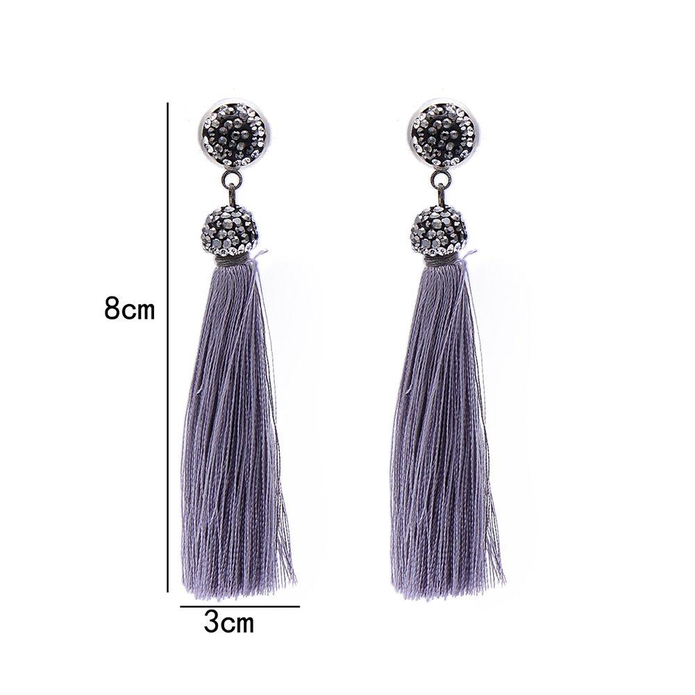 838f14b22d8a81 Amazon.com: Bohemia Long Tassel Earrings Women Black Rhinestone Drop Dangle  Earrings (Grey): Jewelry