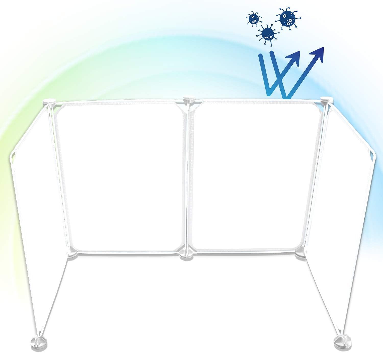 Odetina Plastic Barrier Desk Sneeze Guard Portable Shield Desktop Baffle for Classroom Desk Dividers Partition (4PCS)