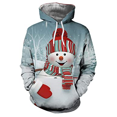 d0ecd814d09 BHYDRY Mens Sweatshirt Couples Hoodies Matching 3D Christmas Printing Long  Sleeve Autumn Winter Top Blous  Amazon.co.uk  Clothing