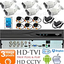 USG Business Grade 3MP HD-TVI 6 Camera CCTV Kit : 6x 3MP 2.8mm Wide Angle Bullet Cameras + 1x 8 Channel 3MP DVR + 1x 4TB HDD + 6x 100ft CCTV Cable + 2x 4 Channel Power Supply : Apple Android Phone App