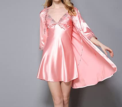 OGTOP Verano Nuevo Batas Trajes Señoras Vestido Seda Pijamas,2-OneSize