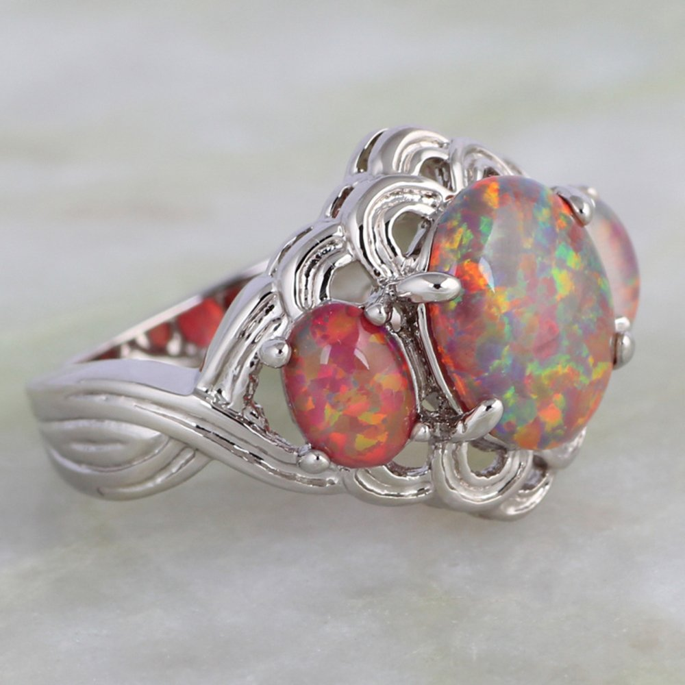 Rny Jewelry Brown Fire Opal Rings Fashion Vintage Jewelry For Women Engagement Wedding Rings