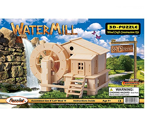 - Puzzled Water Mill 3D Jigsaw Woodcraft Kit Wooden Puzzle